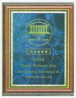 International Lawyer Excellence Award (June 2018)