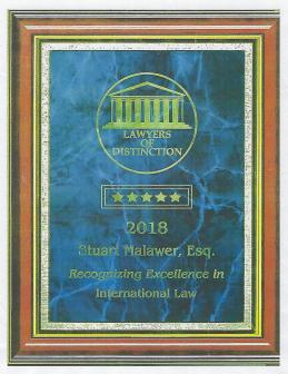 International Lawyer Excellence Award (June 2018)